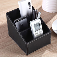 3 Cells Storage Box Desk Stationery Makeup Cosmetic Organizer for Office Leather Remote Control Holder