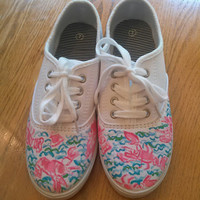 """Hand Painted Lilly Pulitzer Inspired Laced Sneakers """"Lobstah Roll"""""""