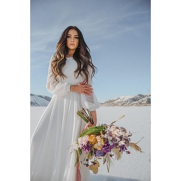 Billie | bishop sleeve chiffon wedding dress