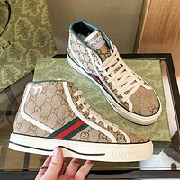 GUCCI GG women's high-top double G letter canvas shoes