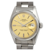Rolex Stainless Steel Date circa 1977, with custom color Buttered Popcorn dial