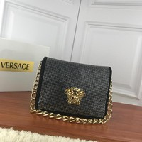 HCXX V0001 Versace Suede Diamante Chain Type Carrying Handbag 24-11-18cm Black