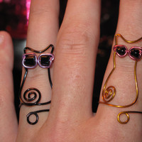 Wire Wrapped Cat Wearing Sunglasses MADE to ORDER Adjustable Ring