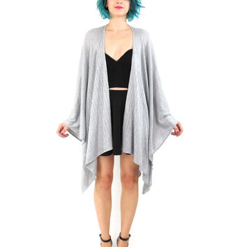 90s Silver Knit Poncho Shawl Calvin Klein Metallic Knit Cape Draped Cardigan Vintage Fancy Evening Party Lightweight Coverup Free One Size