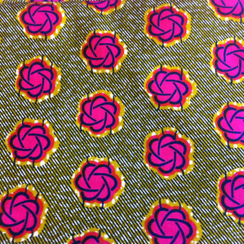 Dutch African Wax Print Fabric by the HALF YARD. Olive Green and Dark Pink Berry Floral