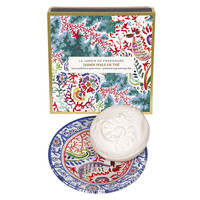 Fragonard, JARDIN DE FRAGONARD, JASMIN PERLE DE THE (Jasmine Pearl Tea), Perfumed Sculpted Soap & Dish Set, 150 g (5.29 oz)