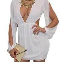 White Slit Long Sleeves Chiffon Mini Dress