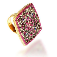 RAVEN (Pink):  Byzantine, Contemporary Ring in Silver, Gold & Swarovski Crsytals