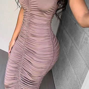 Looking For Mr Right Strapless Sweetheart Neck Ruched Bodycon Maxi Dress - 2 Colors Available