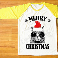 Red Hat Cat Glasses T-Shirt Merry Christmas Tee Shirt Cat T-Shirt Funny Shirt Yellow Sleeve Tee Women Shirt Unisex Shirt Baseball Tee S,M,L