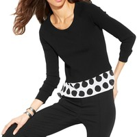 INC Womens Knit Contrast Trim Pullover Top