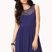 Crochet Yoke Fit & Flare Dress