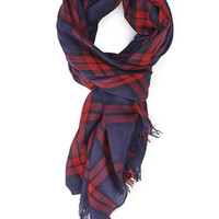 FOREVER 21 Plaid Frayed-Edge Scarf Navy/Red One