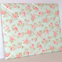 Shabby Chic PInk Roses (Teal background) ~  French Memo Board PInk by ToileChicBoutique