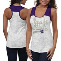 Kansas State Wildcats Ladies Burnout Raglan Tank Top - White