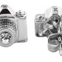 2 Pairs of Silvertone with White & Clear Camera Center Stone Lens Style Stud Earrings