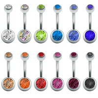 Womens Colorful Cz Crystal Silver Surgical Steel Belly Navel Rings 14g 12Pc Lot