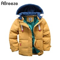 Abreeze 2017 children Down & Parkas 4-10T winter kids outerwear boys casual warm hooded jacket for boys solid boys warm coats