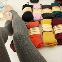 Winter Warm Candy Color Twist Wheat Stripe Knit Thick Stretchy Pantyhose Foot Tights Stirrup Leggings