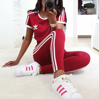 """""""ADIDAS""""stripe sports suit two piece Suit Top With Trouser Red"""