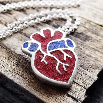 Anatomical heart necklace - silver and concrete - human heart  jewelry medical heart