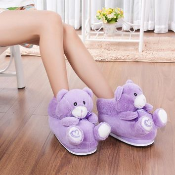 Fashion Animal Purple Bear Winter Warm slippers Women Men Pantufas Home Warm Indoor Shoes Creative Funny Soft Shoes with Heel