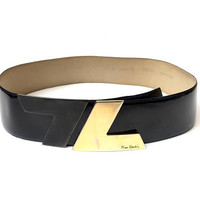 PIERRE CARDIN!!! Vintage 1980s 'Pierre Cardin' black patent leather belt with double gold and grey angled clasp buckle