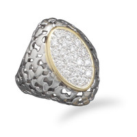 Two Tone Plated Brass Marquise Shape CZ Fashion Ring