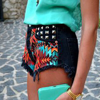 High Waist Denim Shorts Decorative Rivets Printing