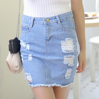 Ripped Button Waist Mini Denim Skirt with Released Hem and Visible Pockets