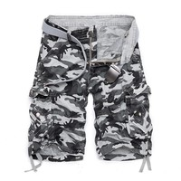 New 2016 brand men casual camouflage loose cargo shorts men Beach Shorts large size multi-pocket military short pants overalls