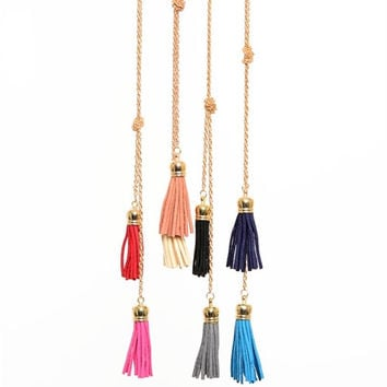 Tassel And Knot Gold Chain Necklace (More Colors Available)