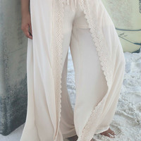 Gypsy Summer Cream Chiffon Crochet Split Wide Leg Pants