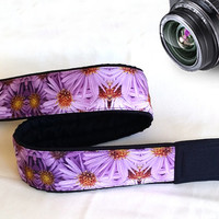 Flowers  Camera Strap. Floral Camera Strap. Purple Camera Strap. Gift For Her