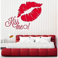 Wall Stickers Vinyl Decal Quote Kiss Me Lips Romantic Decor Unique Gift (z2039)