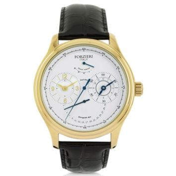 Forzieri Designer Men's Watches Portofino Gold Tone Stainless Steel Case and Black Embossed Leather Men's Automatic Watch
