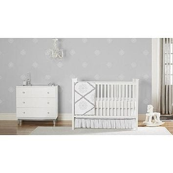 Just Born® Ruffled Medallions 3-Piece Crib Bedding Set