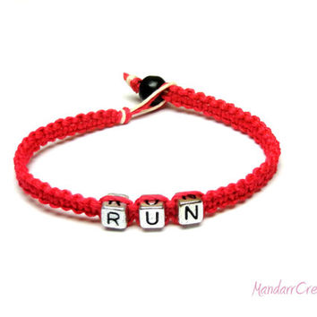 RUN Bracelet, Neon Pink Bamboo Cord Jewelry for Runners, Marathon, Triathlon, Fitness Motivation