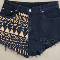 Black Tribal Aztec Hand Made Custom High Rise Shorts