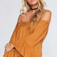 Kace Off The Shoulder Top - Mustard