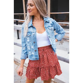 A Moment Distressed Denim Jacket, Light Denim