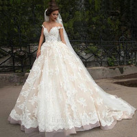 Luxury Lace Ball Gown Wedding Dress 2016 Off Shoulder Princess Arabic Muslim Arab Bride Bridal Dress Gown Weddingdress