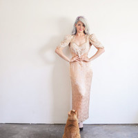 peach beaded trophy wife gown . apricot silver sparkle dress .large.extra large.xl