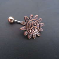 Belly Button Ring Jewelry Sun Copper Celestial Belly Button Ring Jewelry Stud Navel Piercing Bar Barbell Belly Button Ring Jewelry Bellyring