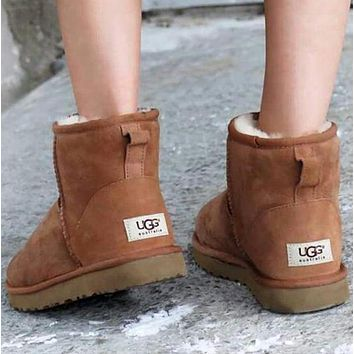 UGG Women Men Fur Leather Shoes Snow Boots Flats Shoes