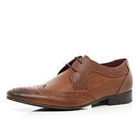 River Island MensBrown pointed wingtip brogues