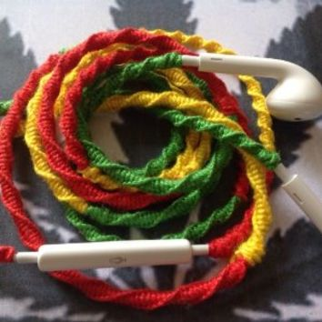 MyBuds Wrapped Tangle-Free Earbuds for iPhone | RASTA | with Microphone and Volume Control