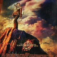"""Hunger Games Catching Fire Movie Poster 27""""x40"""" DS Signed 27x From World Premiere Jennifer Lawrence Liam Hemsworth w/ COA"""