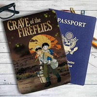 Grave of the Fireflies Cover Leather Passport Wallet Case Cover