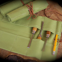 Small Wasabi Canvas Tool Roll for Wood Carvers, Hobbyists, Musicians, Roll for Chisels, Canvas Tool Storage
